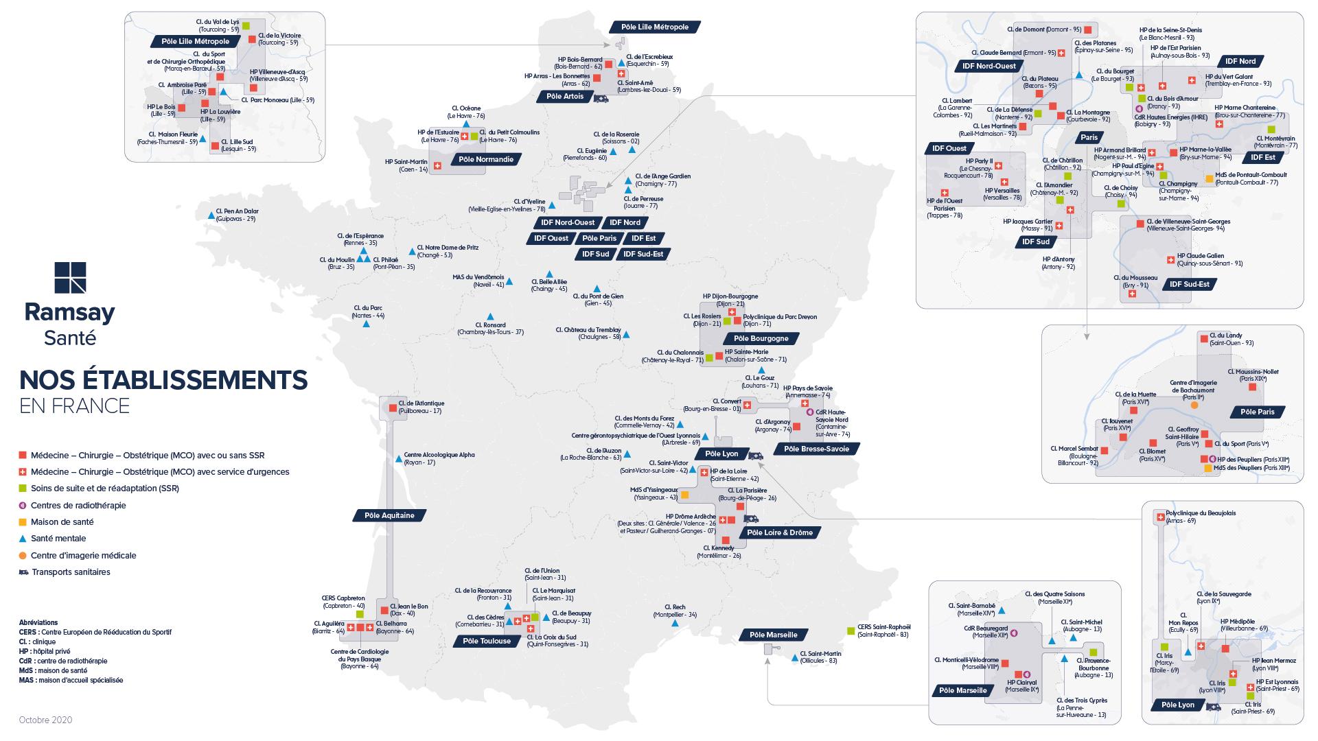 Carte de nos établissements en France